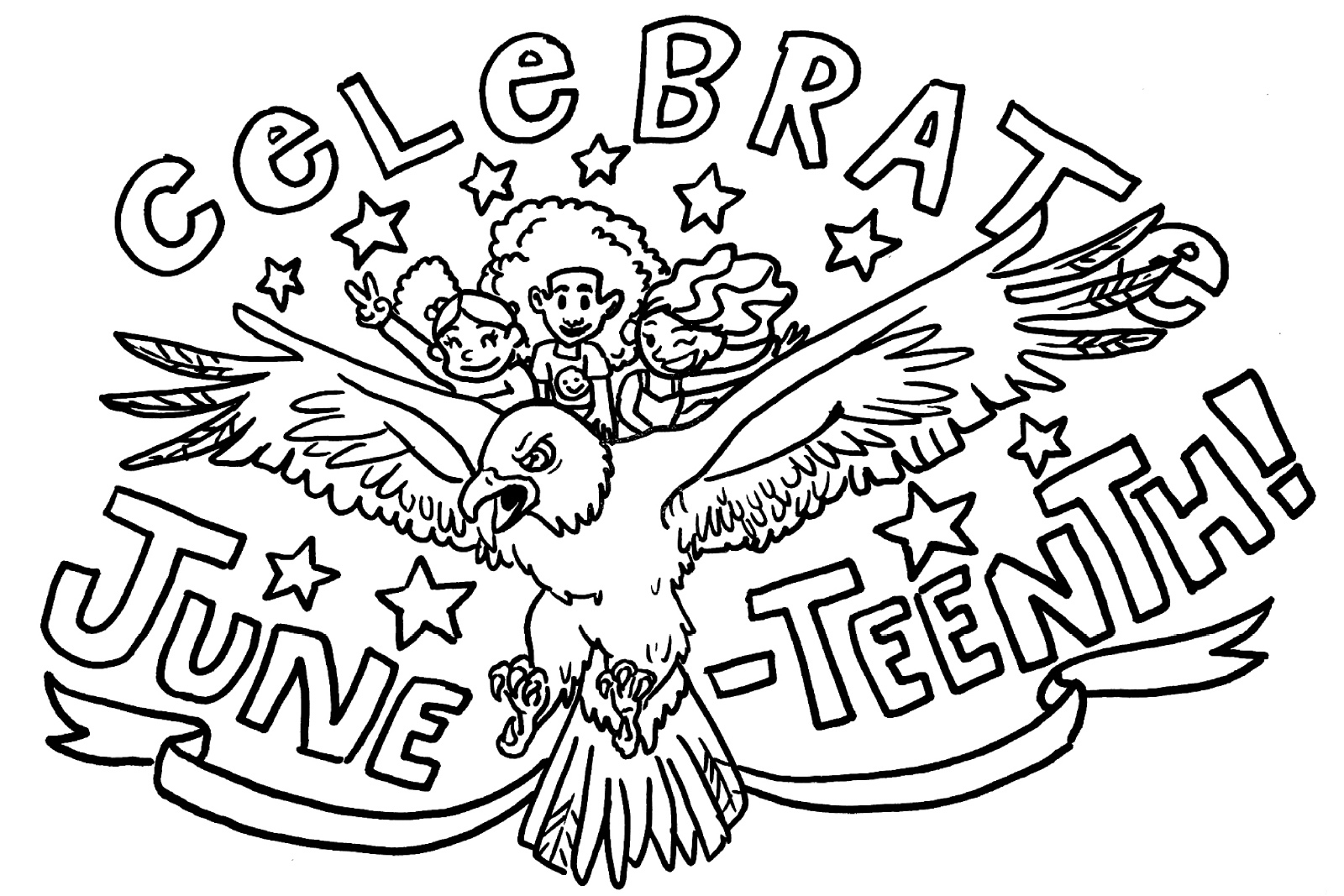 Coloring book pages with the text Celebrate Juneteenth and three children riding an eagle