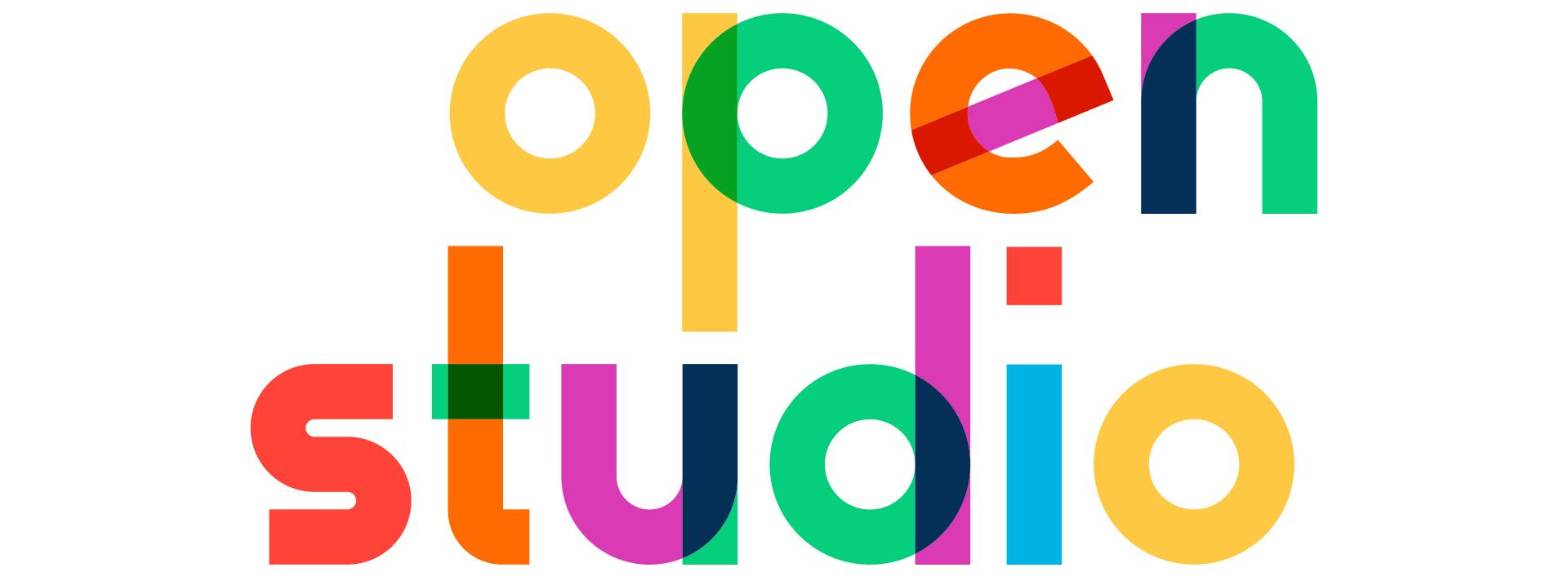 Open Studio Banner multicolor words 22open studio22 on white background