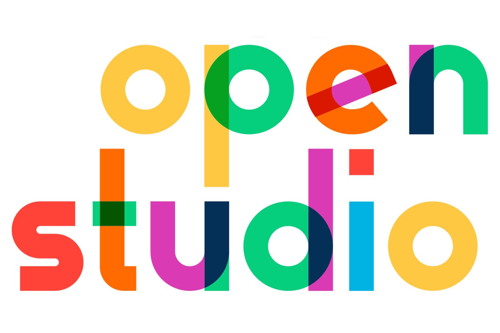 Multicolor words 22open studio22 on white background